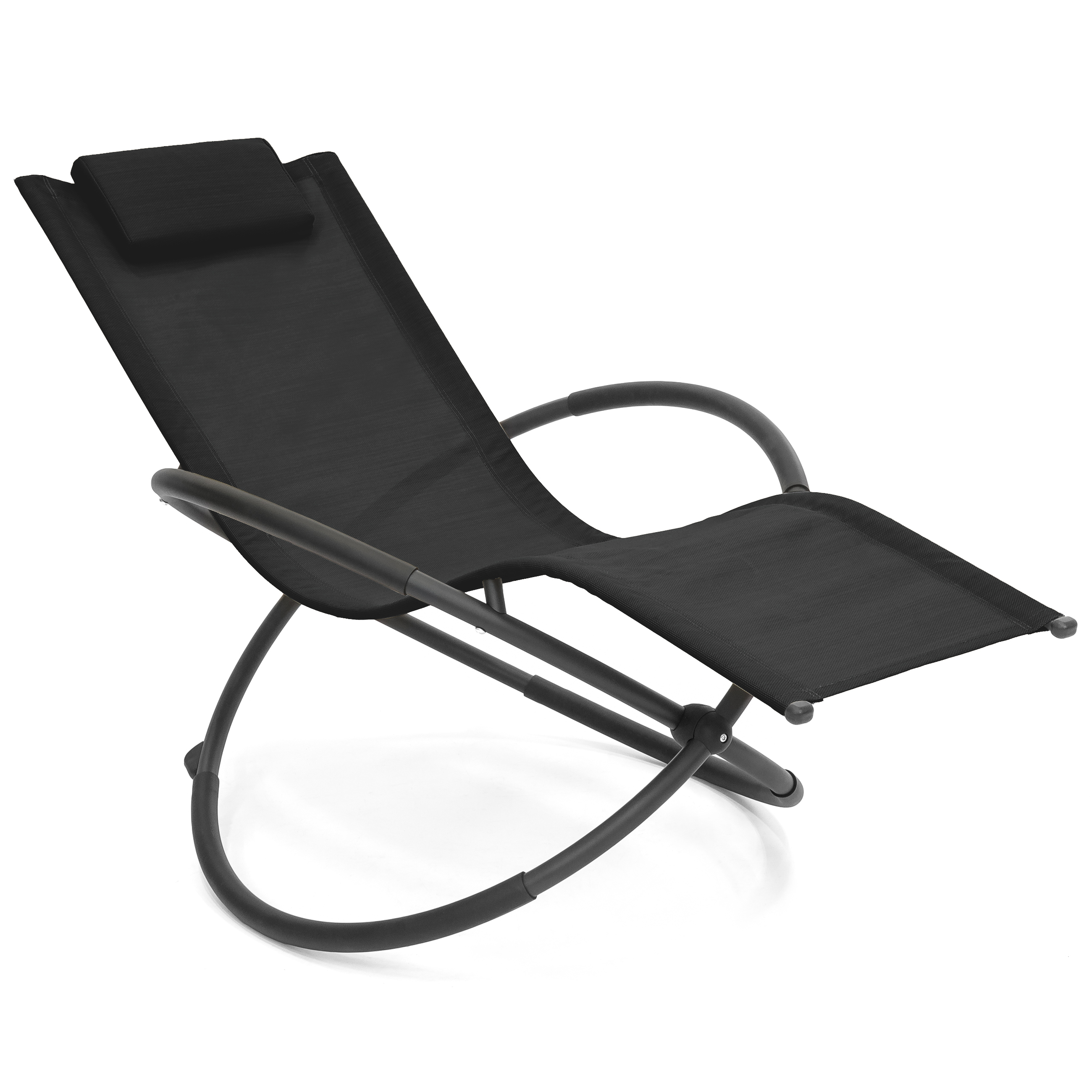 Best Choice Products Folding Orbital Zero Gravity Lounge Chair w  Removable Pillow (Black) by