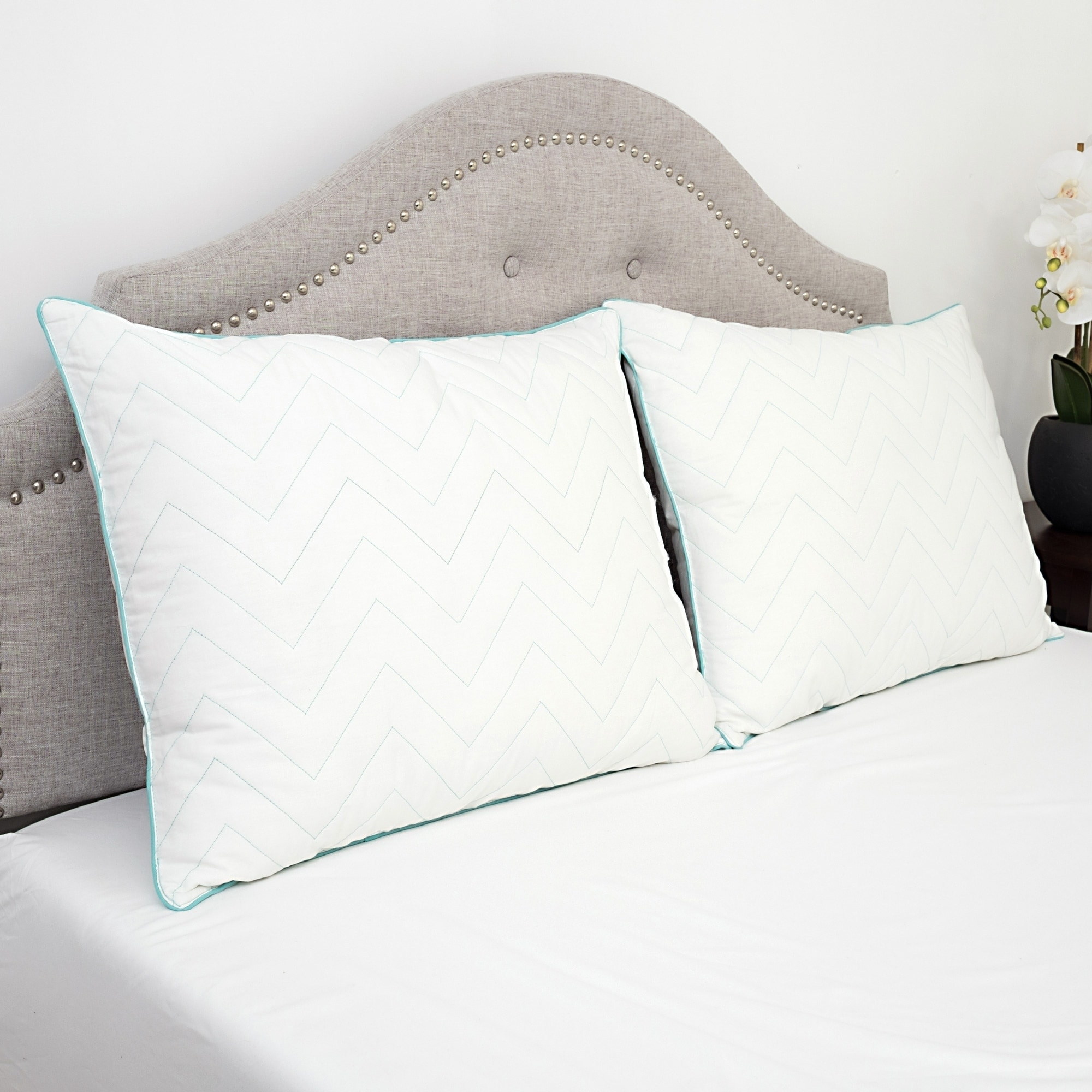 Sweet Home Collection  Premium Cotton Cool Microfiber Gel Fill Bed Pillow Pair