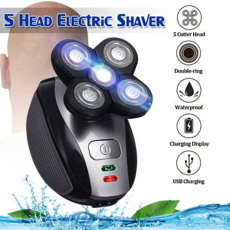 5 Head Floating Shaving Bald Head Men's Electric Foil Shaver Waterproof Razor for Wet & Dry (With USB Power Charger) OR 1 PC Replacement Shaver