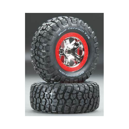 5869 Tires/Whls Assembled Red Beadlock Slash VXL (2) Multi-Colored