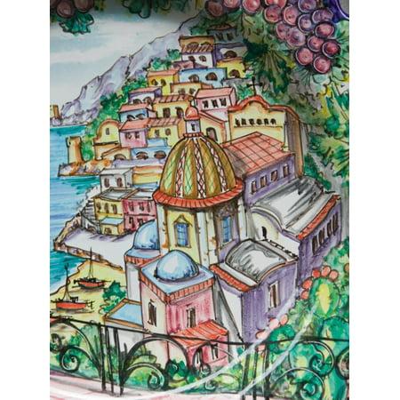 Coast Ceramic Plates (Painting of Positano on Ceramic Plate, Positano, Amalfi Coast, Campania, Italy Print Wall Art By Walter Bibikow)
