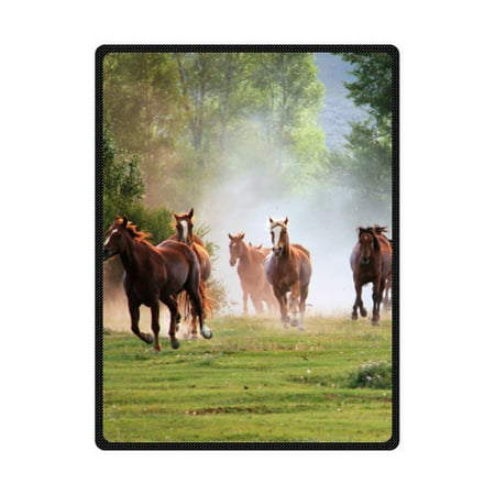 CADecor Running Horse Fleece Blanket Throw Blanket 58x80 inches