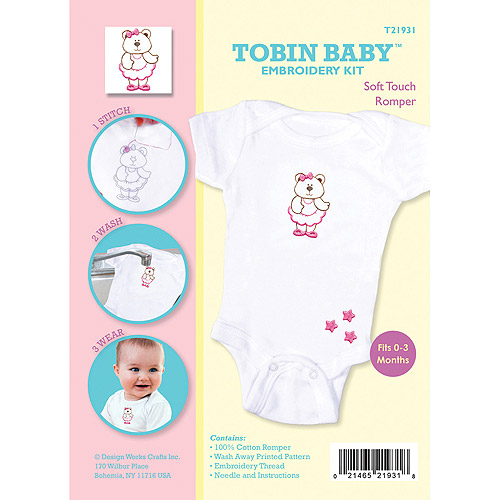 Tobin Baby Bear Soft Touch Romper Embroidery Kit, Fits 0, 3 Months