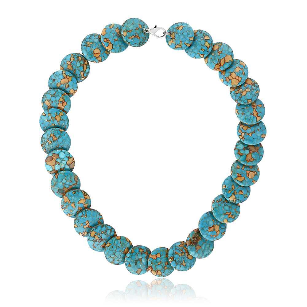 Round Green  Simulated Turquoise  Howlite Necklace 18 Inch With Lobster Clasp