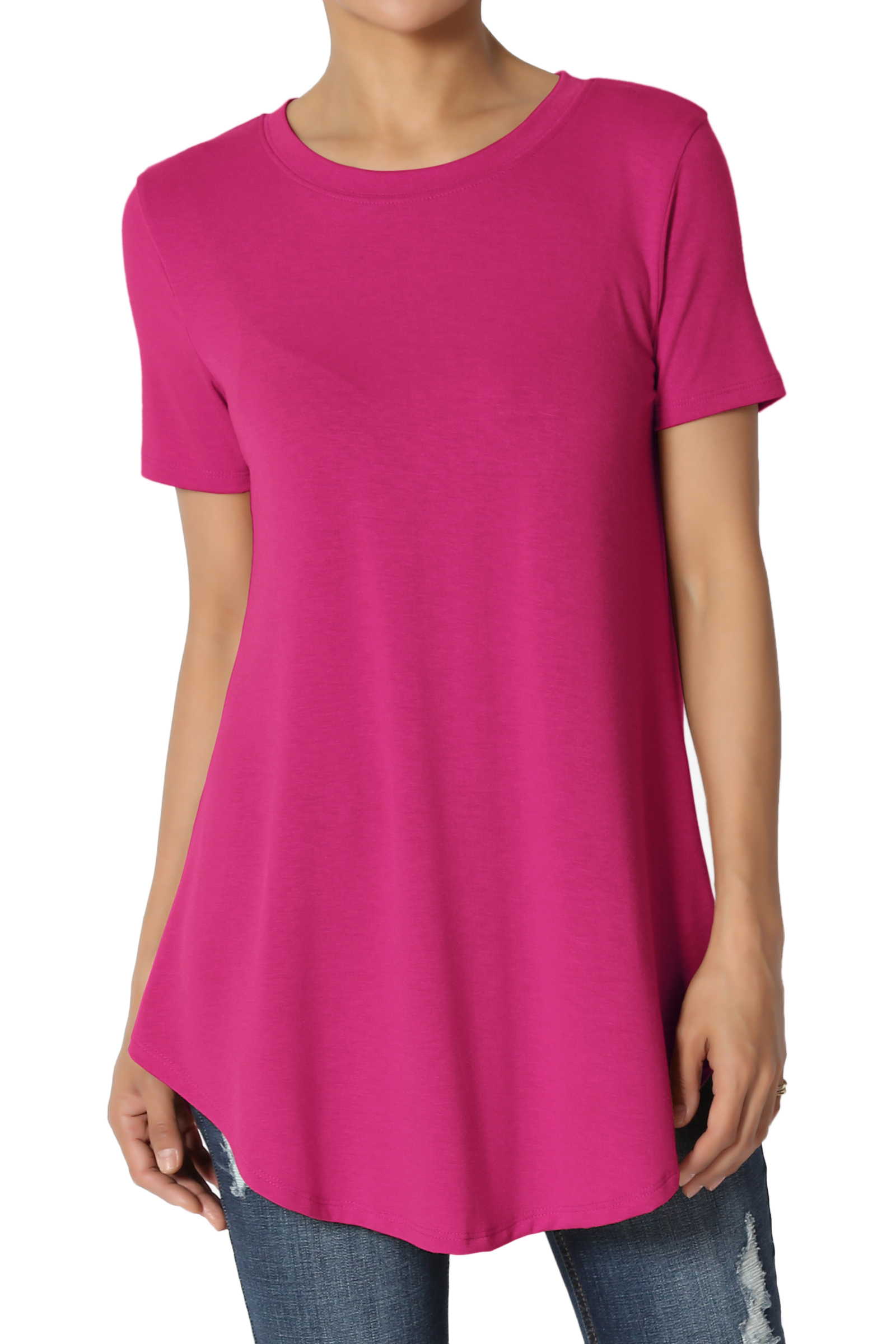 TheMogan Women's S~3XL Basic Crew Neck Round Hem Short Sleeve Draped Jersey Tee