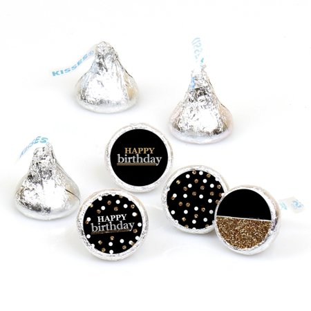Adult Happy Birthday - Gold - Round Candy Sticker Favors - Labels Fit Hershey's Kisses (1 sheet of 108)