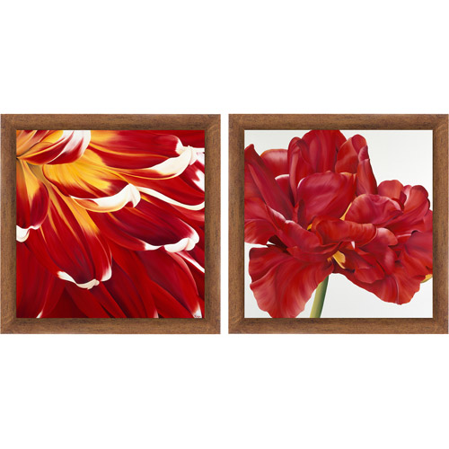 "Framed Graphic ""Red Flower"" Wall Art, 14"" x 14"", Set of 2"