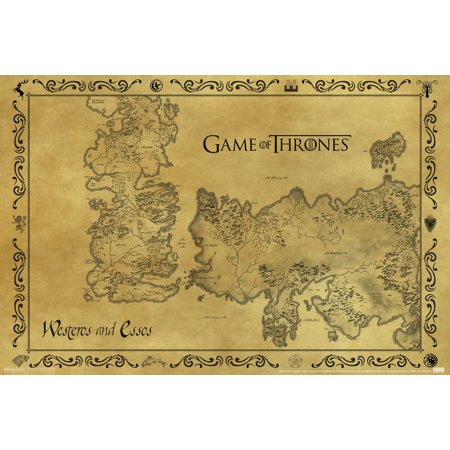 Game Of Thrones Antique Map Westeros Essos Hbo Medieval Fantasy Tv Television Series Poster   18X12 Inch