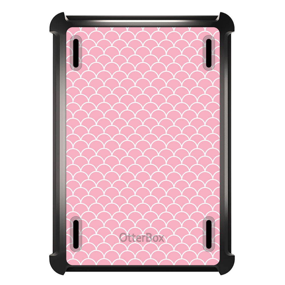 CUSTOM Black OtterBox Defender Series Case for Apple iPad Mini 4 - Light Pink Scalloped Pattern