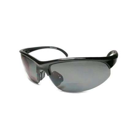 Men Bifocal Reading Sunglasses Half Rim Sports Outdoor Glasses Black (Bifocal Sunglasses For Men)