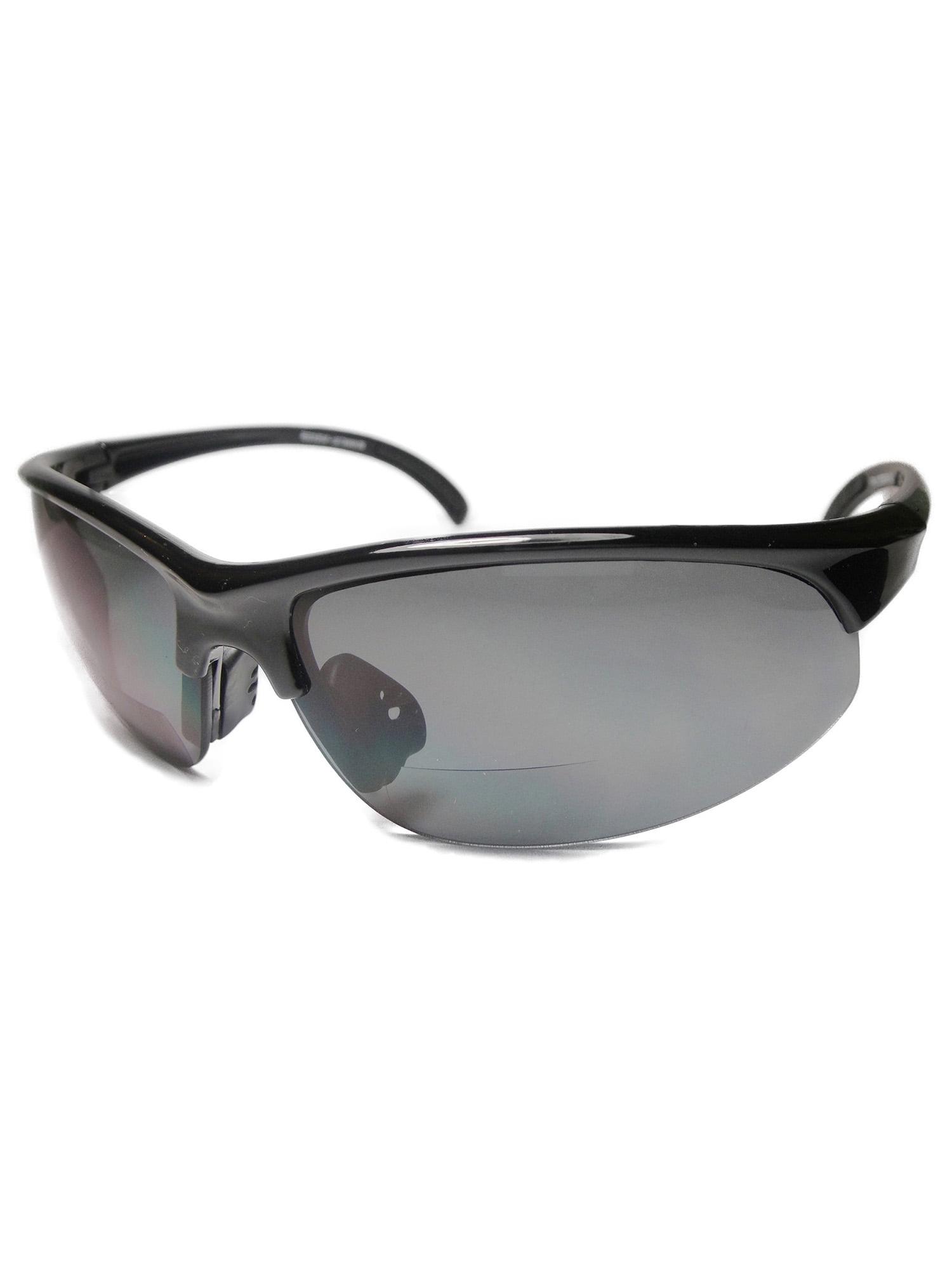 Men Bifocal Reading Sunglasses Half Rim Sports Outdoor Glasses Black +2.50
