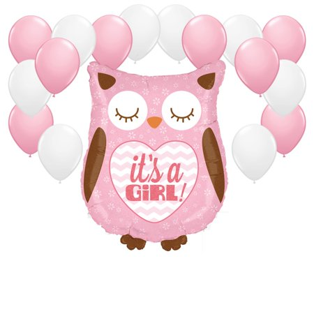 Owl with Pink and White Balloons Party Decor Kit (Baby Shower Decorations Owls)