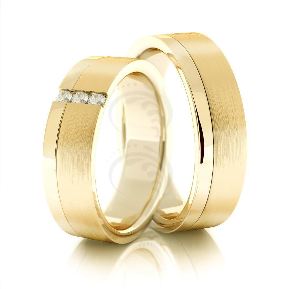 14k Yellow Gold Satin Polished Flat Couples Wedding Ring ...