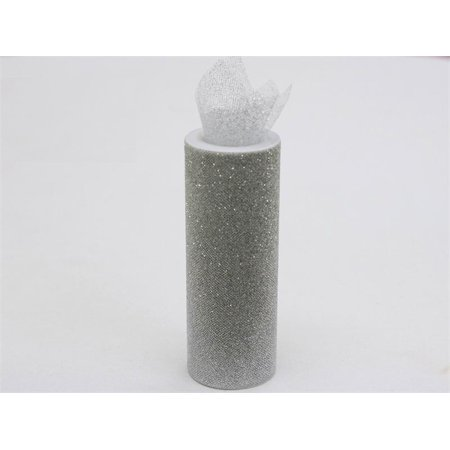 Silver Wedding Glittered Tulle Roll 6