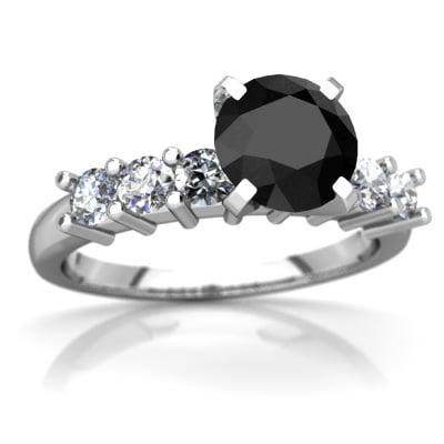 Black Onyx Engagement Ring In 14k White Gold
