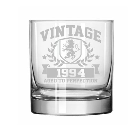11 oz Rocks Whiskey Highball Glass 25th Birthday Vintage Aged To Perfection 1994