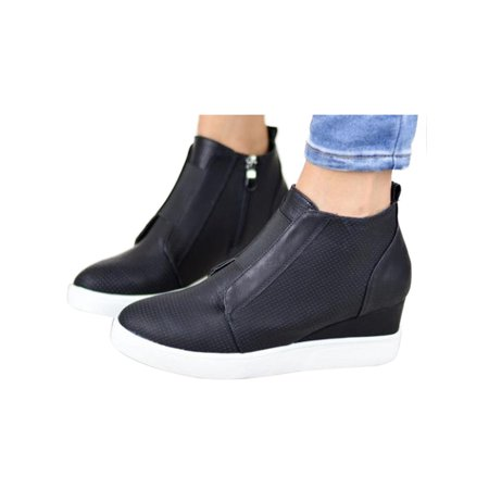High Sneaker Boot - Women Zipper Low Heel Ankle Boots Wedge Sneakers High Top Shoes Causal