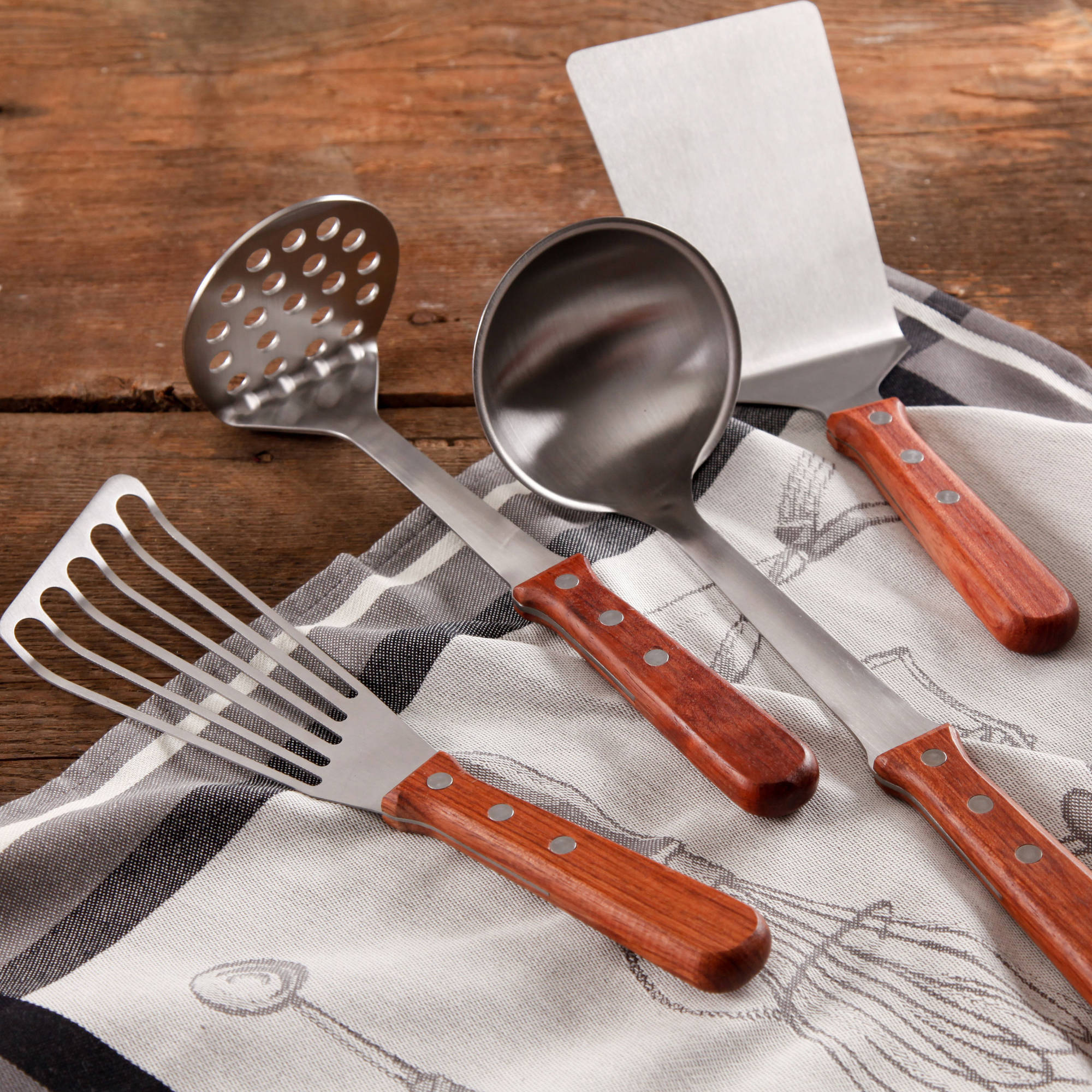 The Pioneer Woman Cowboy Rustic 4-Piece Kitchen Tool Set with Rosewood Handle