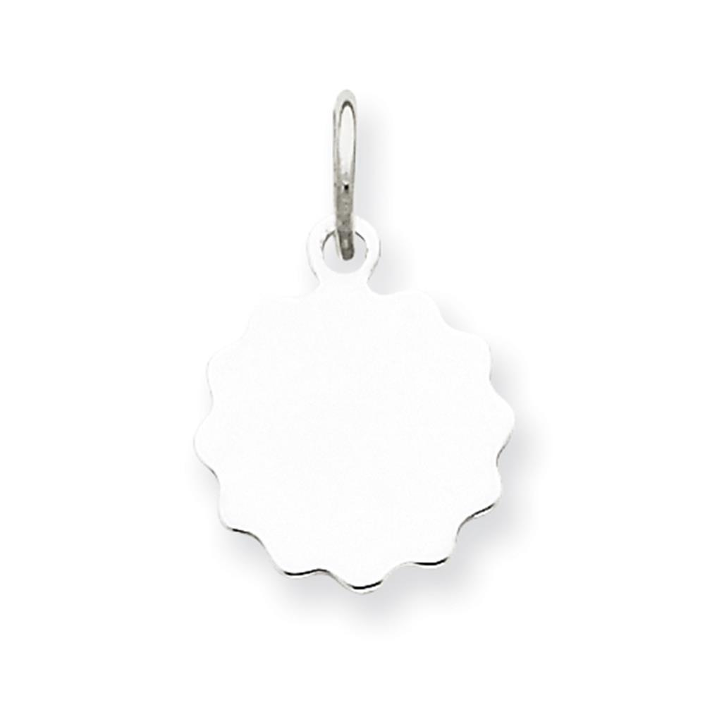 925 Sterling Silver Engravable Disc Charm Pendant 12mmx10mm