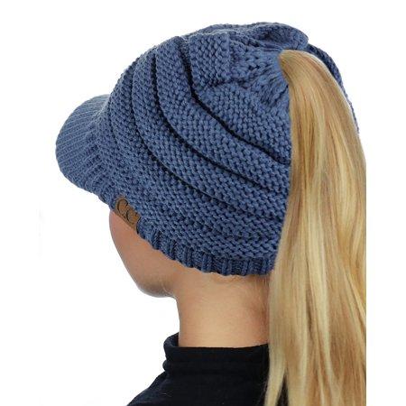 2a7e18b36c6 C.C BeanieTail Warm Knit Messy High Bun Ponytail Visor Beanie Cap ...