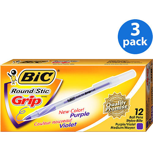 BIC Ultra Round Stic Grip Ball Pen, Purple, 1-Dozen, 3-Pack