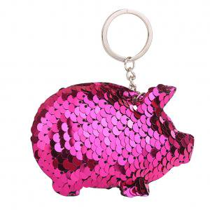 Fancyleo Cute Pig Keychain Glitter Pompom Sequin Key Chain Gifts Women Car Accessories Bag Key - Cute Keychains
