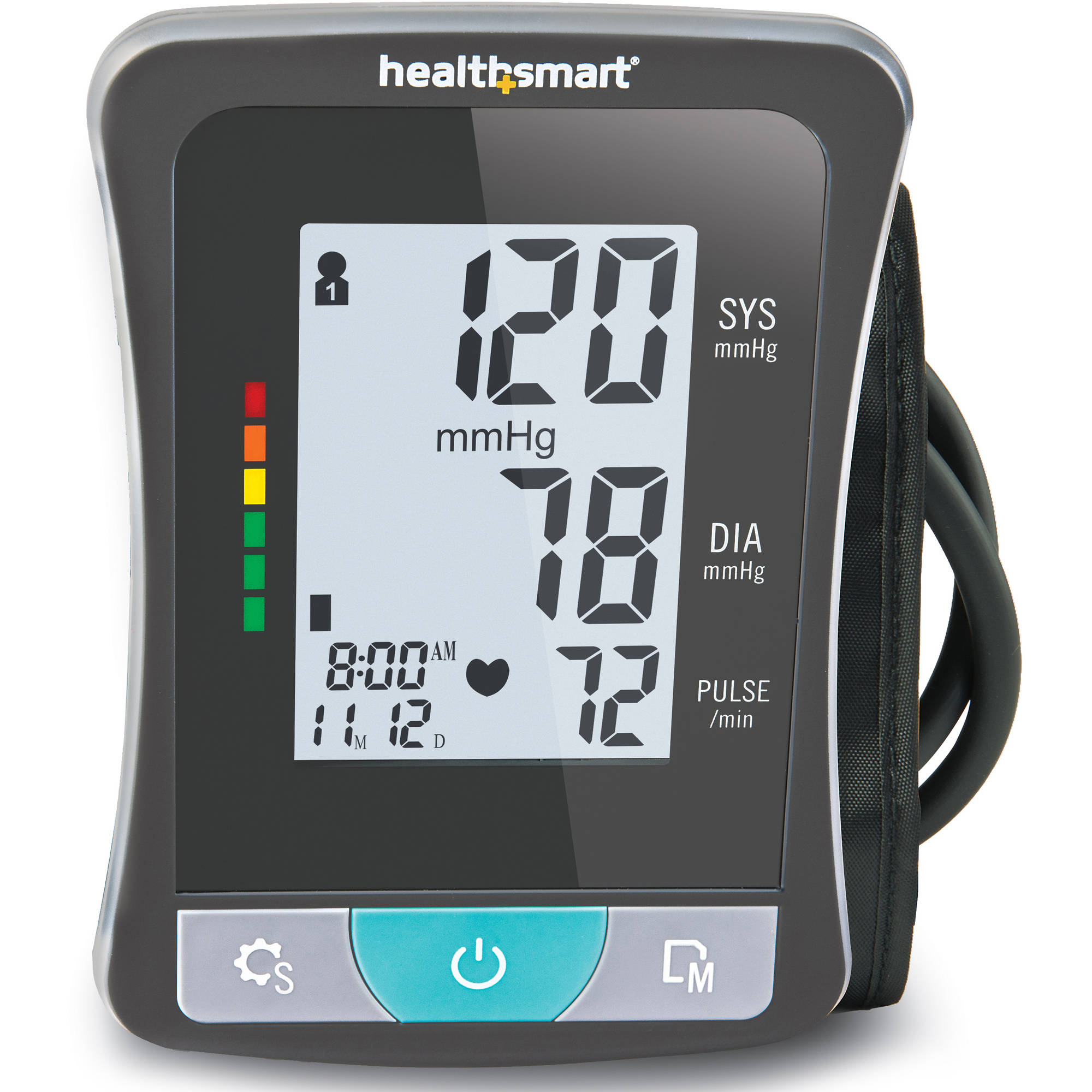 HealthSmart Select Series Clinically Accurate Automatic Digital Upper Arm Blood Pressure Monitor with LCD Display and 2 Person Memory, Black and Gray