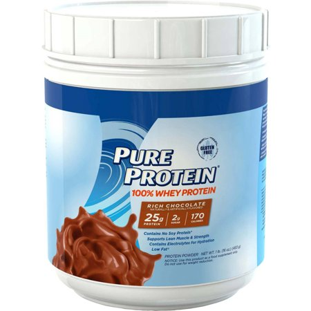 Pure Protein 100% Whey Protein Powder, Rich Chocolate, 25g Protein, 1 Lb (Protein Powder Without Caffeine)