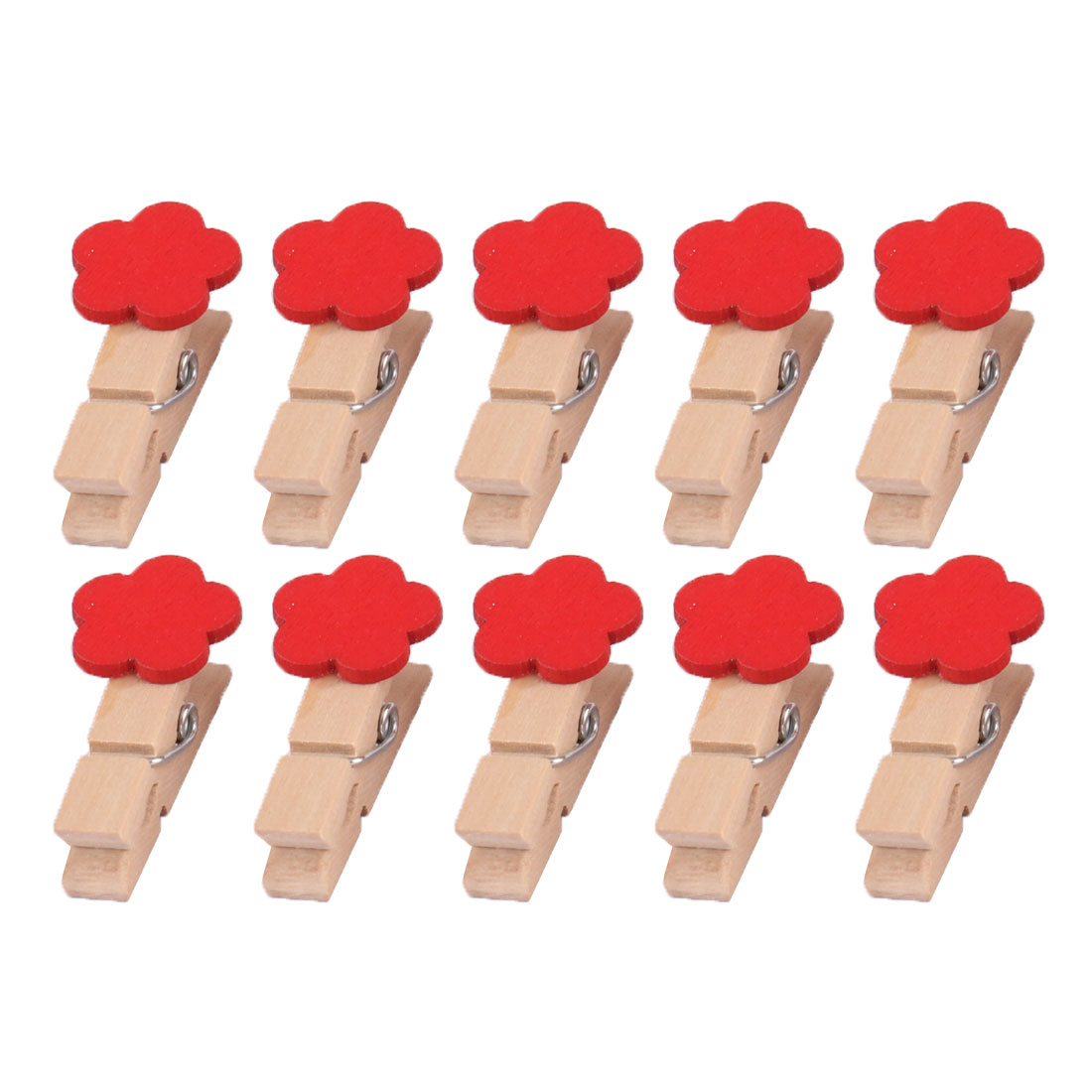 Home Wooden Flower Shaped DIY Craft Photo Picture Card Hanging Clip Red 10pcs