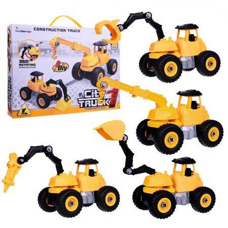 DIY Construction Vehicles Truck Building Block 2 in 1 City Excavator, for 3-12 years old children, Forklift, Bulldozer, Pickup Truck Robot Conversion Pack, 4 Boxes F-174