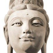 Platin Art Deco Glass Buddha's Head Photographic Print