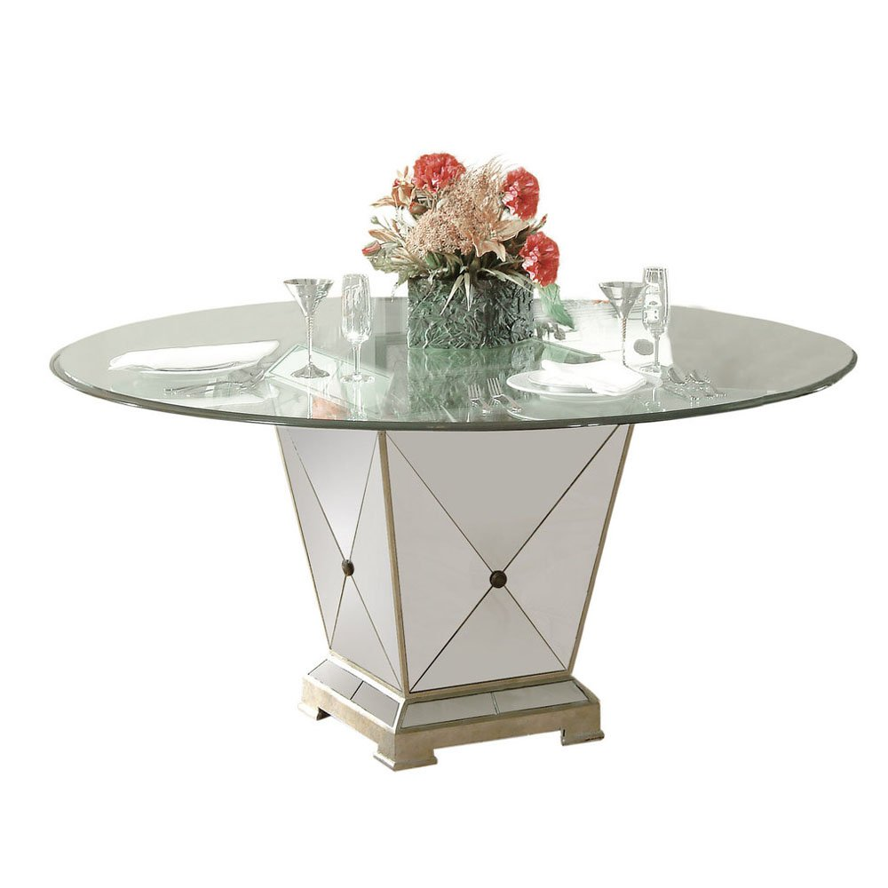 Bassett Borghese 60 Inch Round Pedetal Glass Top Dining Table by