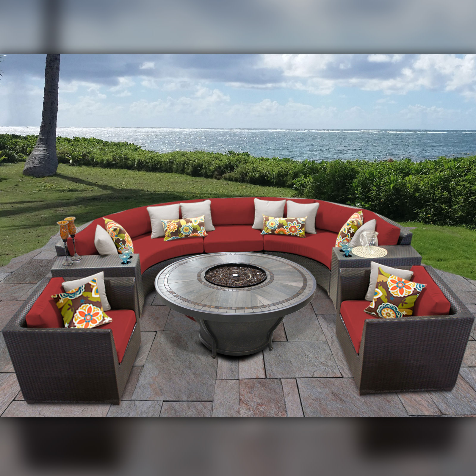 TK Classics Barbados 08K Wicker 8 Piece Fire Pit Patio Set