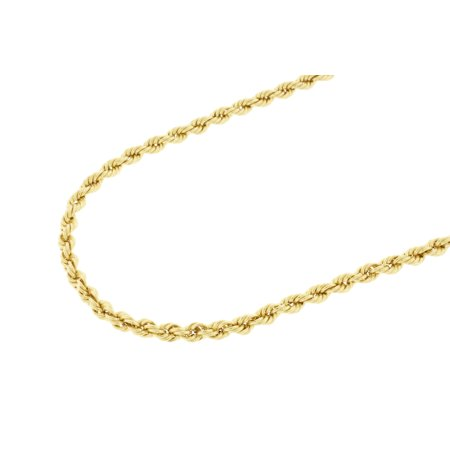 2931ecee4e386 10K YELLOW GOLD Hollow Rope Chain Necklace Men | 4 mm 18