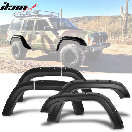 Jeep Cherokee Fender Replacement - Fits 84-01 Jeep Cherokee XJ Pocket Rivet Style Wide Fender Flares Texture PP