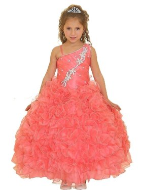 60f2cccb22 Product Image Little Girls Coral Single Shoulder Strap Pageant Dress 6. Sophias  Style