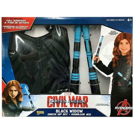 Captain America Civil War Black Widow Dress Up Kit [Full Jumpsuit & Pair of Batons]