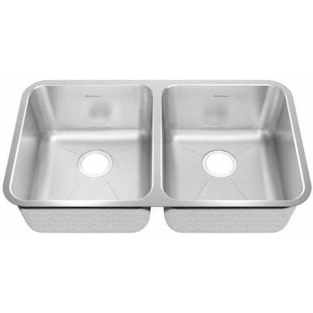 American Standard 14DB.331900.073 Prevoir 32 7/8-18 3/4-9 Double Bowl 18 Gauge Stainless Steel Undermount Sink, Brushed Stainless Steel American Standard Double Bowl Sink