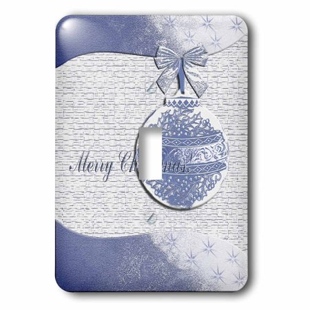 Blue Holly Leaf Design - 3dRose Blue Holly Leaf Design Merry Christmas - Single Toggle Switch (lsp_34349_1)