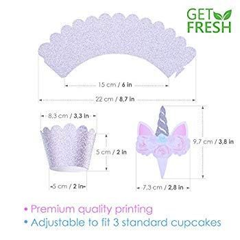 Purple /& Silver Unicorn Cupcake Toppers