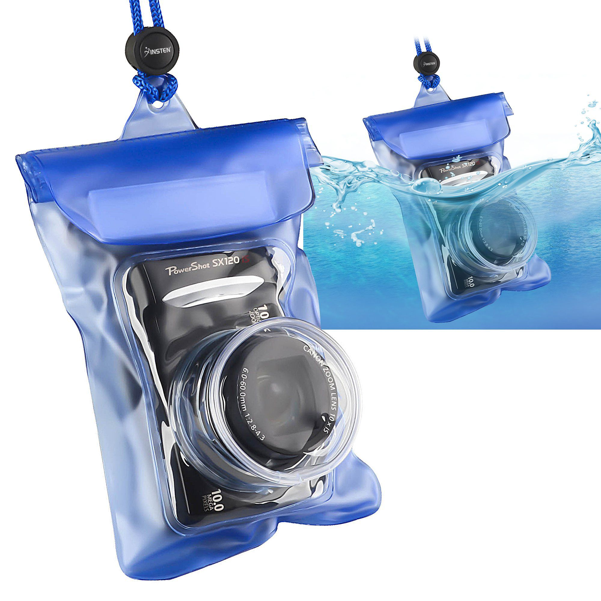 Insten Waterproof Camera Case Bag with Rope , Blue