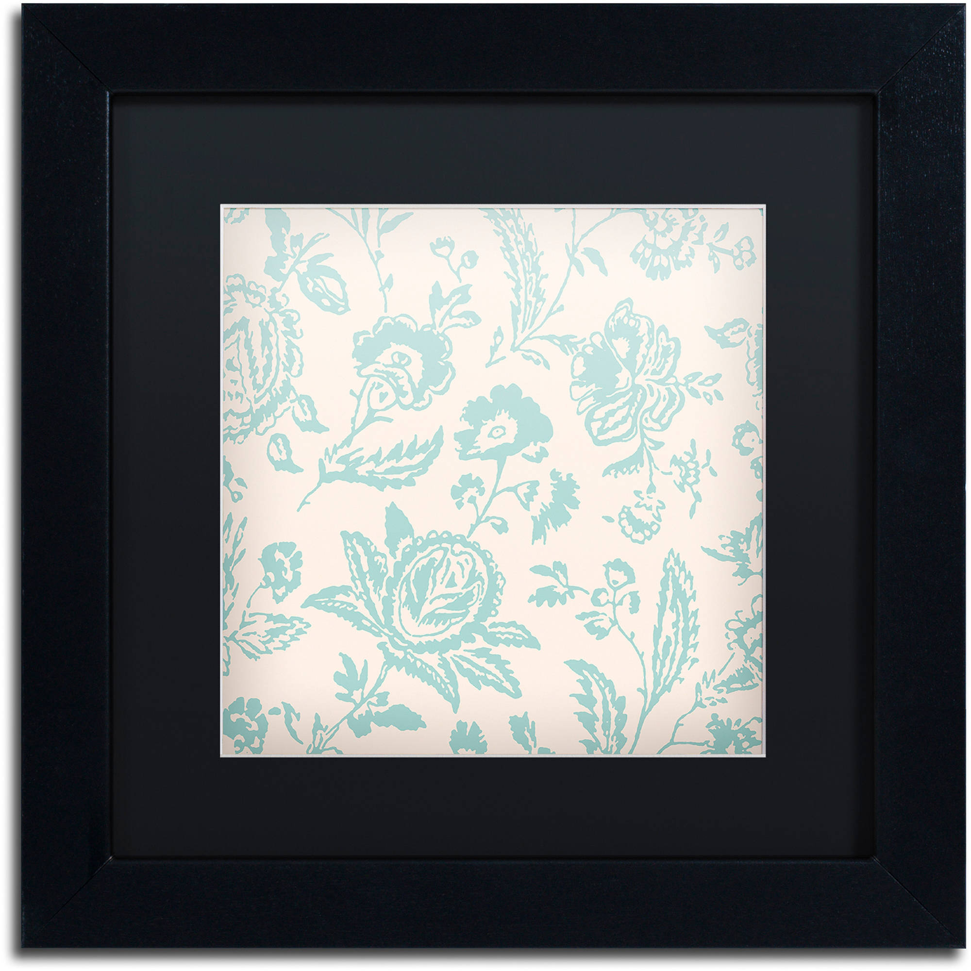 "Trademark Fine Art ""Toile Fabrics XI"" Canvas Art by Color Bakery Black Matte, Black Frame"