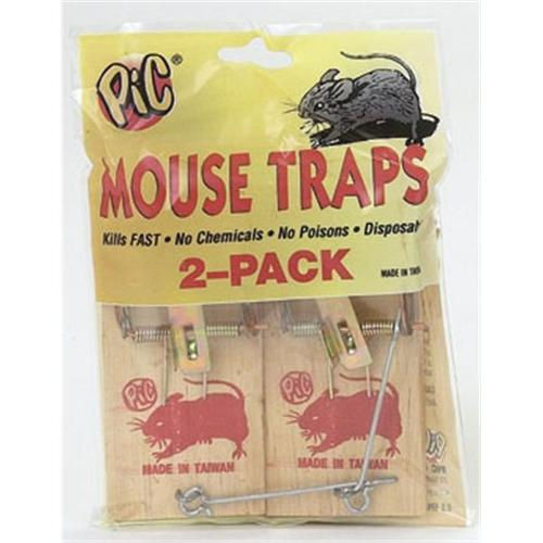 Pic MTW-2C/S Wood Mouse Traps - 12 Pack - Pack of 12