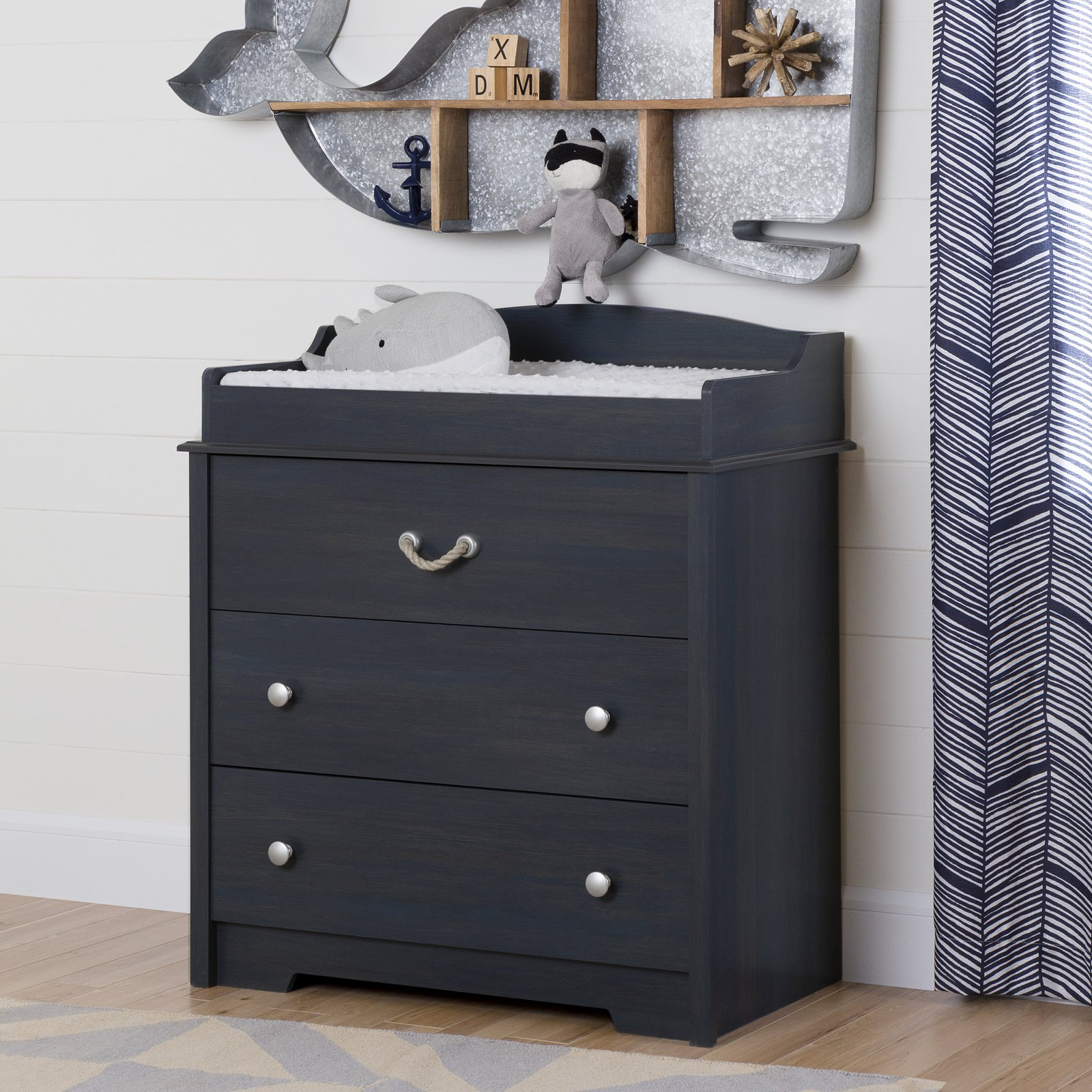 South Shore Aviron Changing Table with Drawers, Blueberry by South Shore Furniture