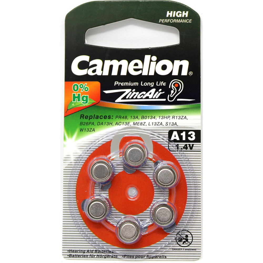 "Camelion Premium Long Life Mercury Free Hearing Aid ""A13"" 1.4V Battery 6 Each"