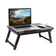 Zimtown Portable Bamboo Folding Laptop Desk Table Breakfast Serving Bed Tray Adjustable Leg