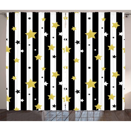 Gold and White Curtains 2 Panels Set, Christmas Birthday Party Themed Stars  on Stripes Lines Backdrop, Window Drapes for Living Room Bedroom, 108W X ...