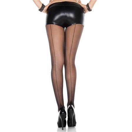 Music Legs 7096-BLACK Cuban Heel Spandex Pantyhose, Black - image 1 of 1