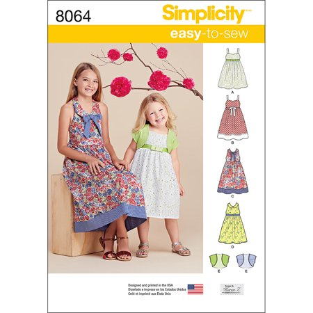 Simplicity Childs' Size 7-14 Dresses & Bolero Pattern, 1 Each