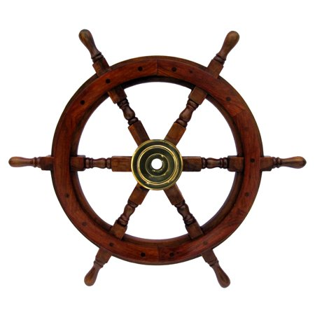 Captains Wheel Thermometer (Antique Wooden Maritime Decor 24